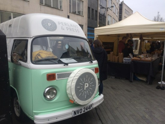 Perlant and Press selling beverages and snacks from their van at Catford Food Market. Pic: William Taylor-Gammon