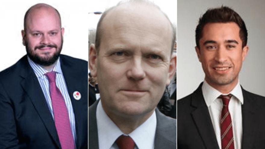 Philip Glanville - Mayor of Hackney (left), John Biggs - Mayor of Tower Hamlets (centre), Damien Egan - Mayor of Lewisham (right). Pic: Roza Andreou