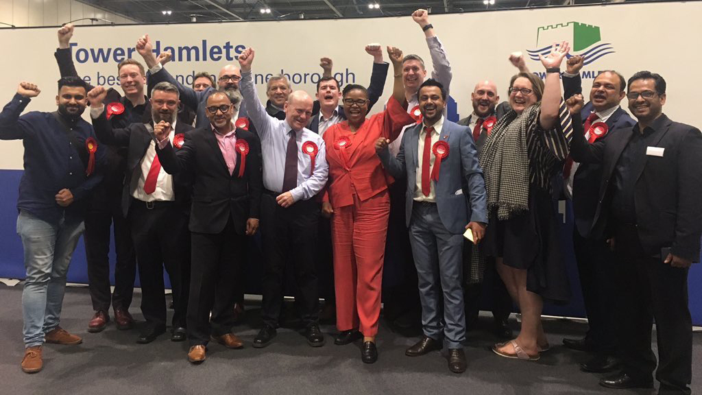 Labour mayor John Biggs and councillors celebrate their success in the 2018 local elections. Pic: Adam Allnutt