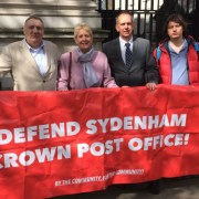 The Save Sydenham Crown Post Office campaign outside Downing Street, councillor Alan Hall (left). Pic: Alan Hall