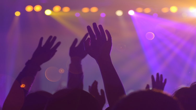 Hands waving at a concert