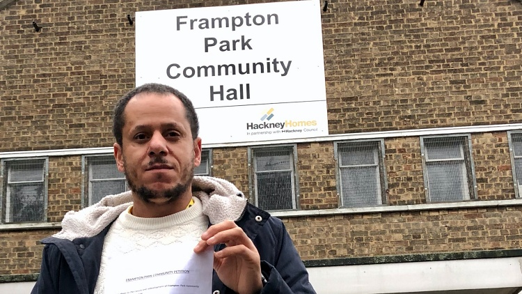 Torren Lewis outside Frampton Park Community Hall