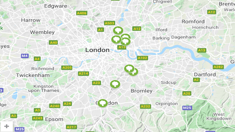 A curated map of parks within the ELL boroughs.