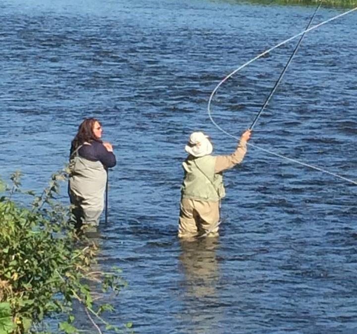 Debbie-Meadows-and-Glenda-Powell-fly-fishing