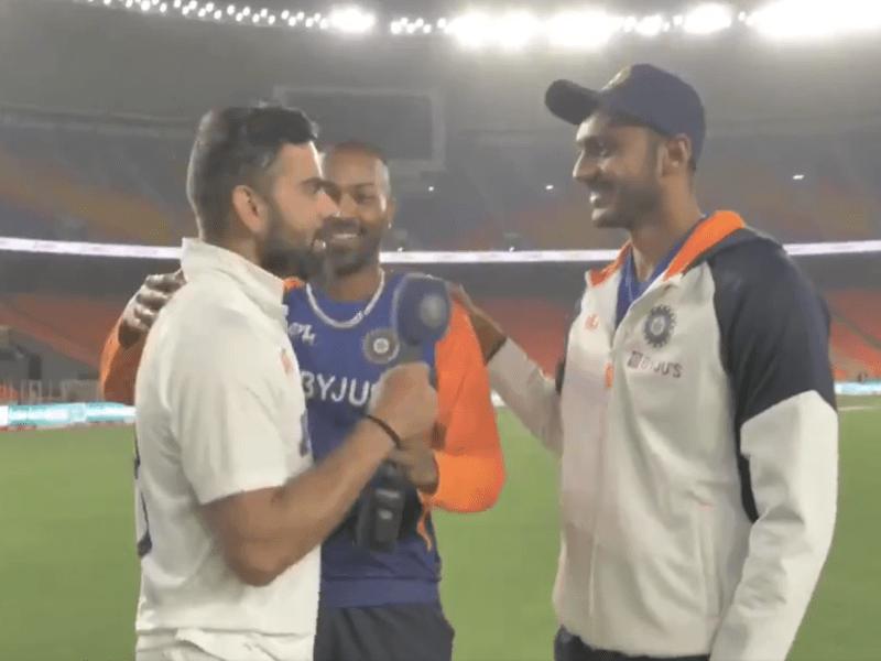 Virat Kohli crashed Axar Patel's interview