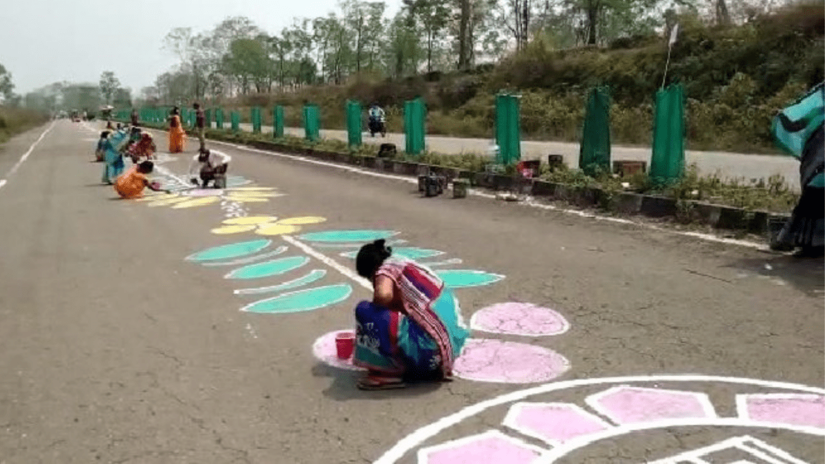 8-km long 'rangoli' created in Assam to create awareness among voters