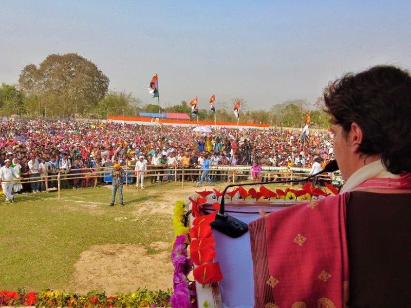 Vote for progress, golden future of Assam, says Priyanka Gandhi