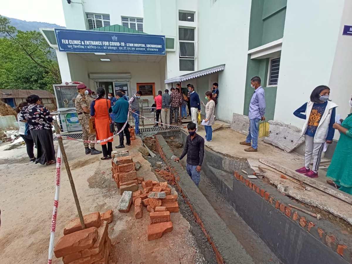 EM impact: Drainage work underway outside COVID ward at Sikkim's STNM Hospital