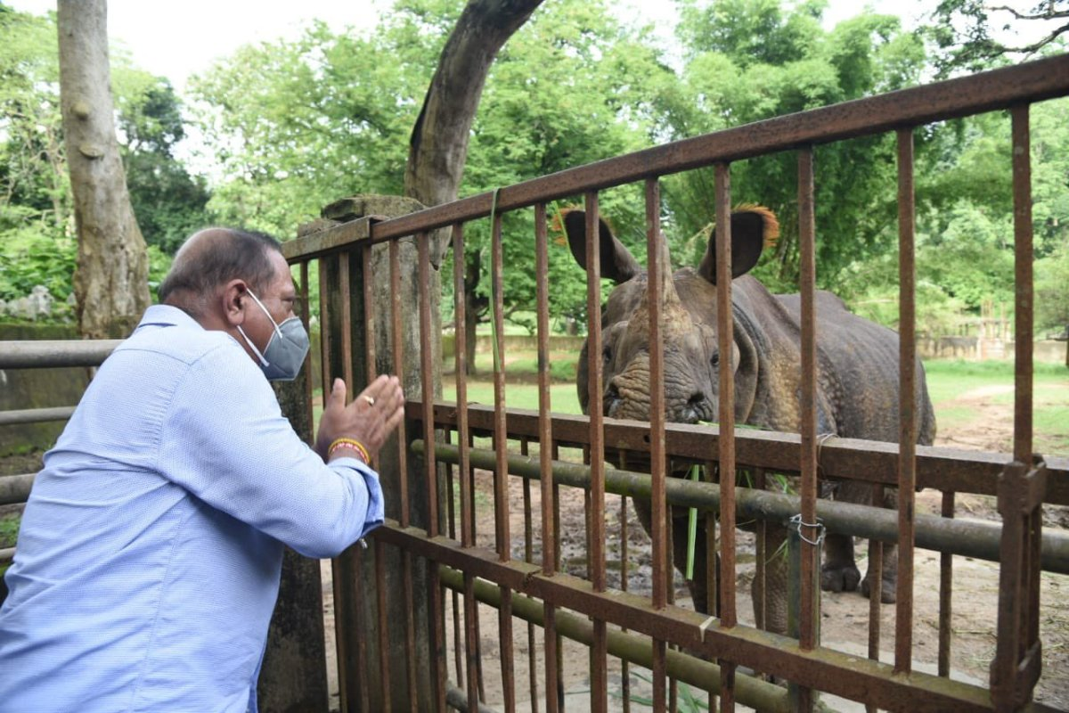 Assam Forest and Environment minister Parimal Suklabaidya during a recent visit to the Assam Zoo.