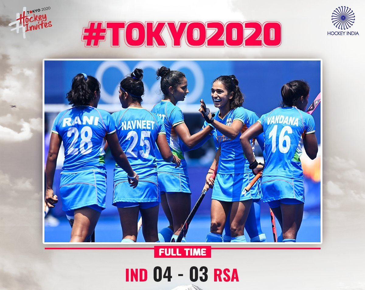 India beat South Africa 4-3 to keep QF hopes alive in Olympic women's hockey