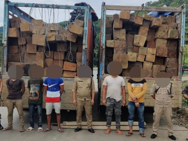Nagaland: 2 trucks with smuggled Burmese teak seized in Dimapur; 5 held