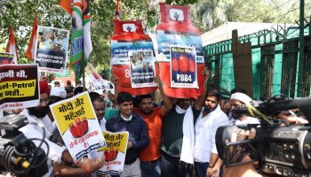 Indian Youth Congress rising fuel prices protest