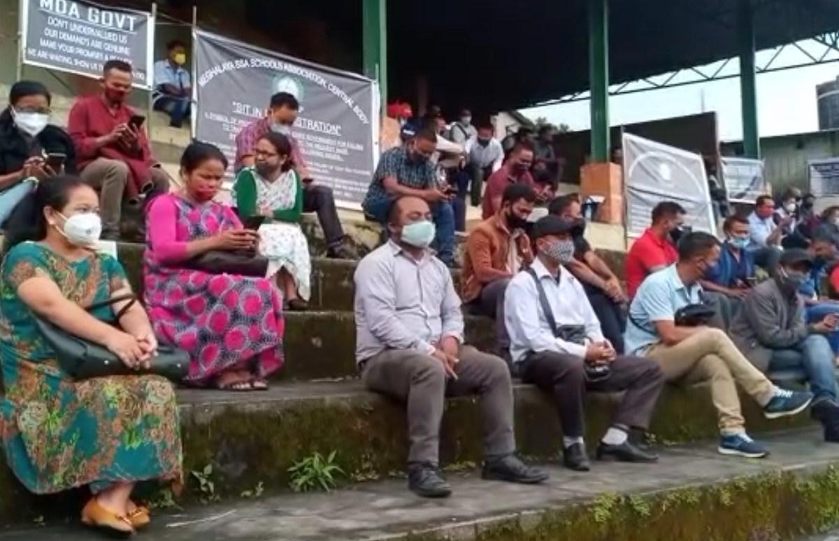 Meghalaya SSA teachers on protest