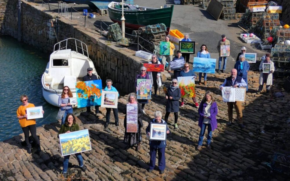 To mark the launch of the publicity campaign for the event, East Neuk Open Studios artists gathered for a socially distanced group photo at Crail Harbour