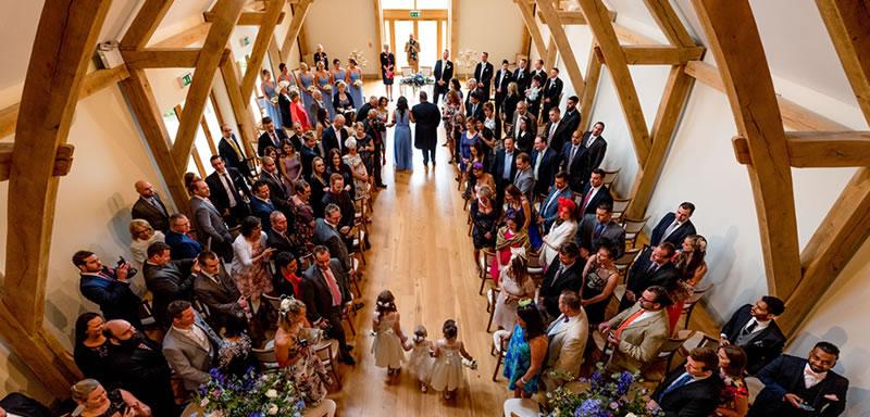 Wedding Ceremony Barn. Alternative Essex wedding venue - Easton Grange luxury barn wedding venue