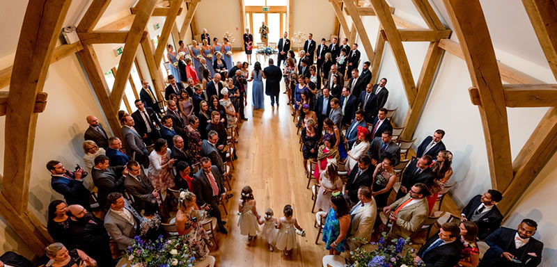 Wedding Ceremony Barn. Alternative Essex wedding venue - Easton Grange luxury barn wedding venue