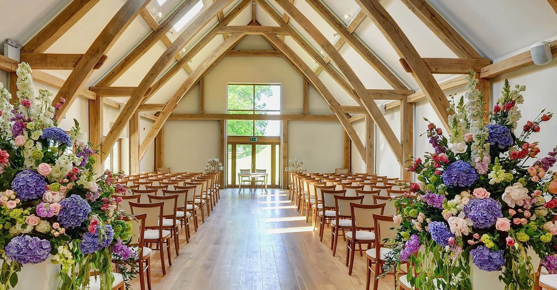 Easton Grange wedding ceremony barn