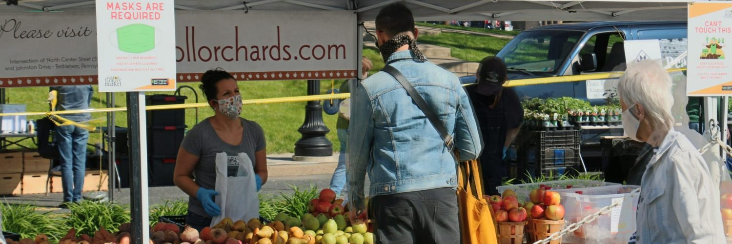 Photo of Easton Farmers Market Vendor on Opening Day 2020 set up at Scott park, Easton PA