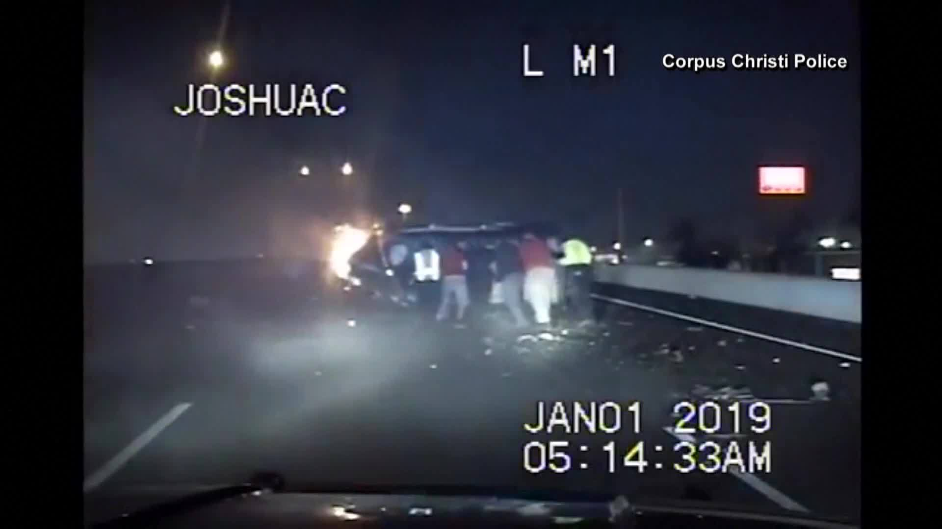MOTORIST RESCUED FROM BURNING VEHICLE