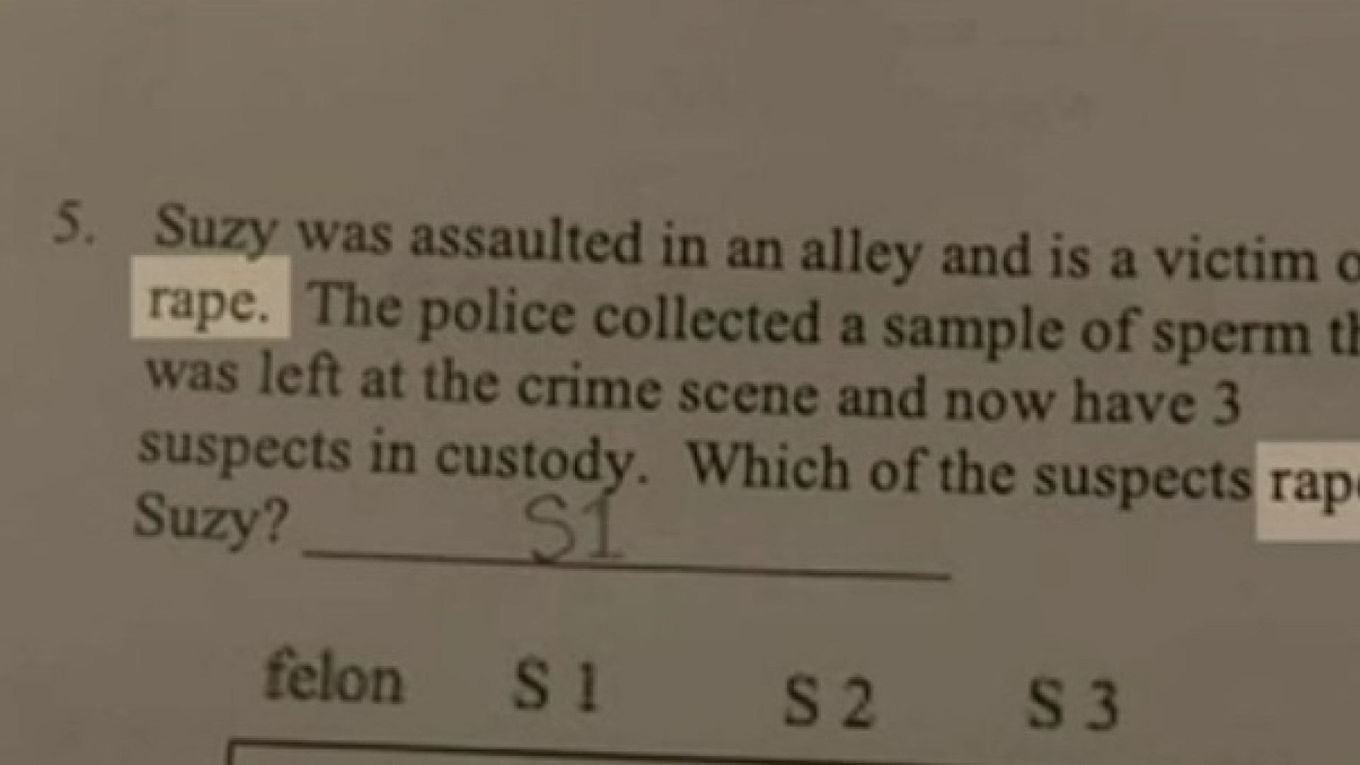 Question about rape put on biology homework for Texas 9th graders