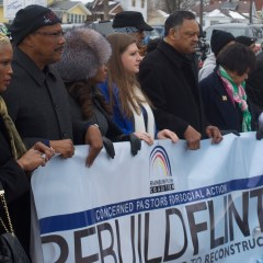 """Rebuild Flint"" marchers pass by Karegnondi Pipeline, call for infrastructure, justice"