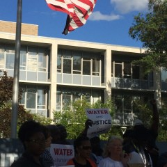 The hurts remain fresh:  water protestors back at City Hall demand U.S. action