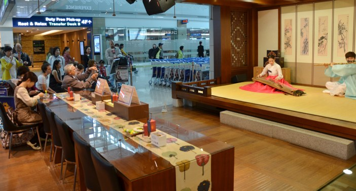 At Inchon Airport departing passengers can view Korean cultural presentations before catching their flight