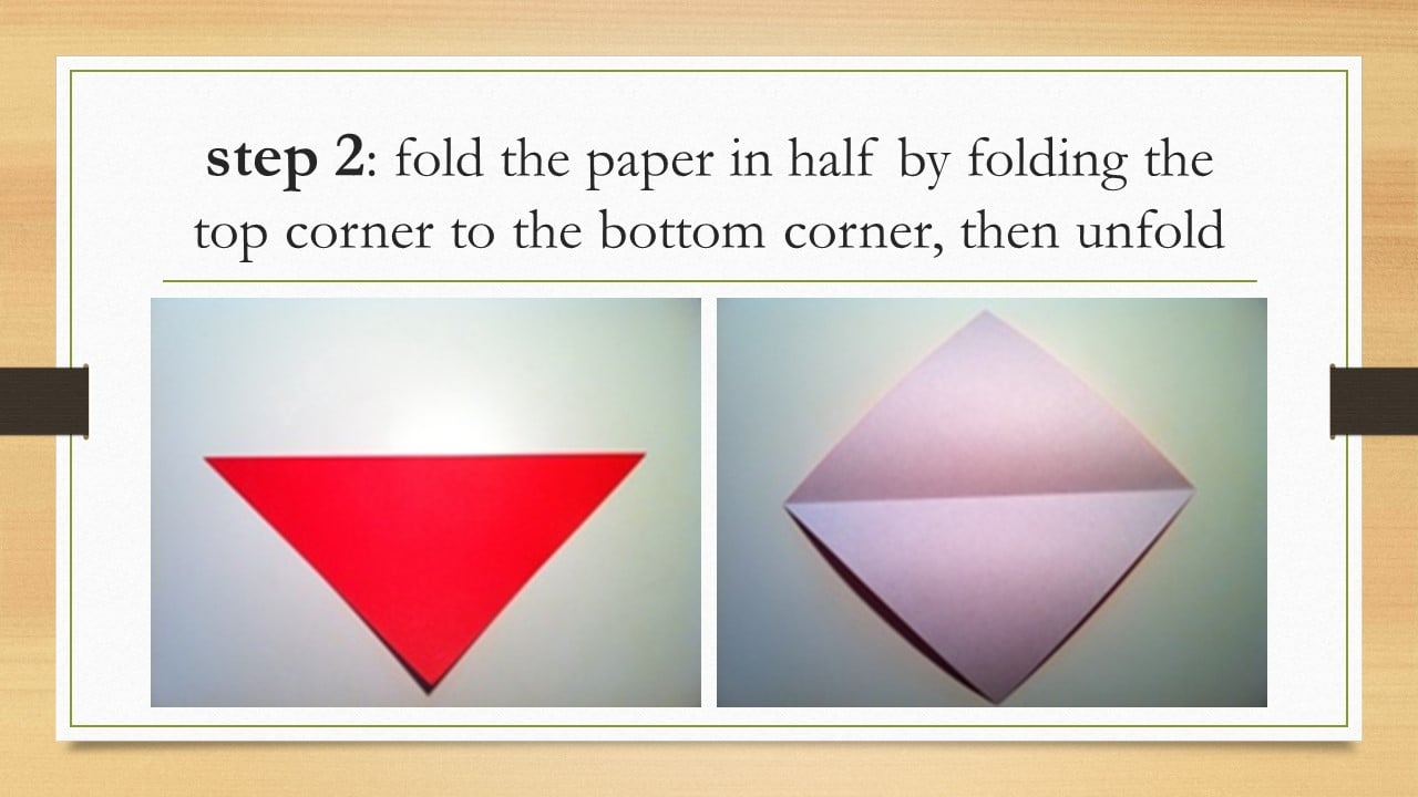 How to make an origami heart east west players the nations step 2 fold the paper in half by folding the top corner to the bottom jeuxipadfo Images