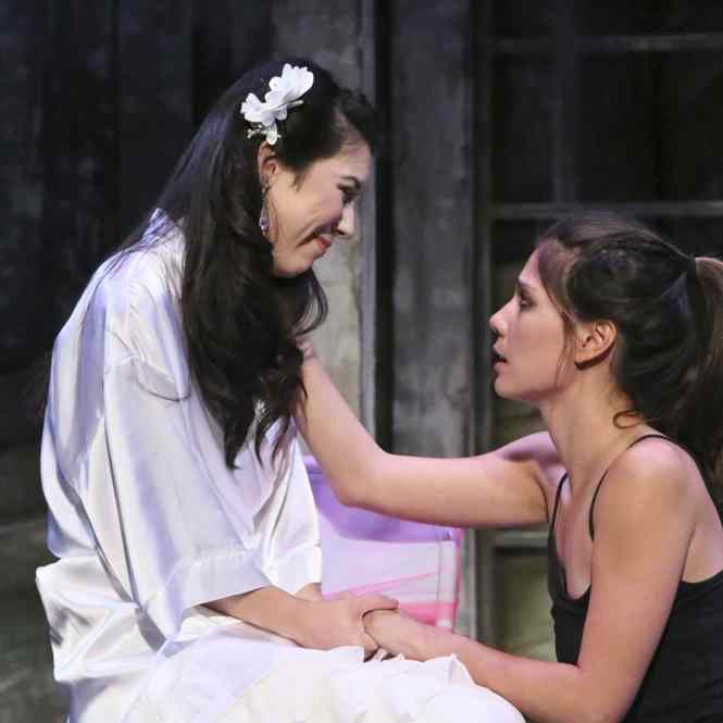 Jacqueline Misaye as Sophie and Jessica Jade Andres as Hiro in East West Players' West Coast premiere of Kentucky by Leah Nanako Winkler. Photo by Michael Lamont.