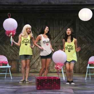 Jacqueline Misaye as Sophie (center) with her bridesmaids played by Megan Therese Rippey (left) and Jenapher Zheng (right) in East West Players' West Coast premiere of Kentucky by Leah Nanako Winkler. Photo by Michael Lamont.