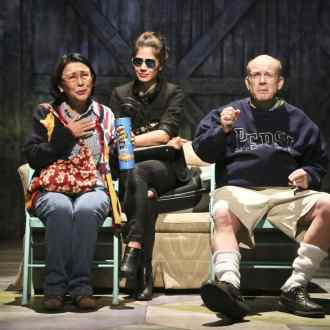 Dian Kobayashi as Masako, Jessica Jade Andres as Hiro, and James B. Harnagel as James in East West Players' West Coast premiere of Kentucky by Leah Nanako Winkler. Photo by Michael Lamont.