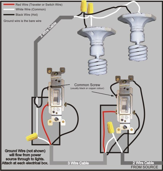 Wiring Diagrams For Household Light Switches DoItYourselfHelp - Light switch wiring multiple