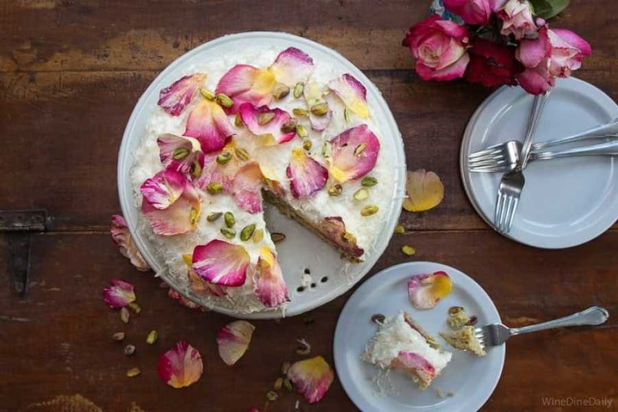 Coconut Cake with Rose Petals by Wine Dine Daily