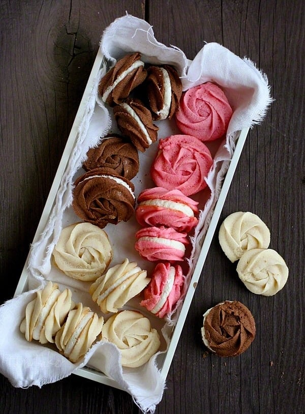 Rose Neapolitan Sprintz Cookies by I Am Baker