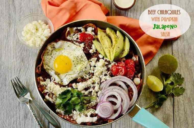 Beef Chilaquiles with Pumpkin Jalapeno Salsa