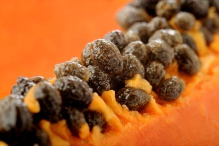 papaya fruit with seeds