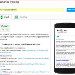 Joomla mobile Optimierung, so sollte eine Joomla Webseite in der Google Bewertung aussehen.
