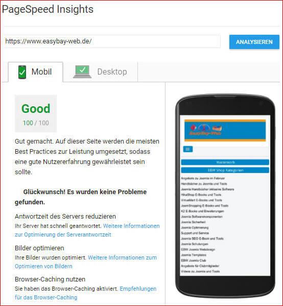 So sieht eine optimierte Joomla Webseite aus. Google bewertet sie in beiden Bereichen mit 100%.