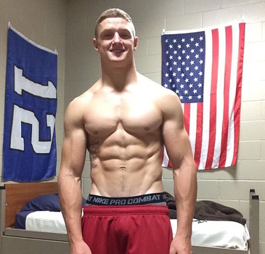 perfect chest gay boyfriend in military school shirtless red board shorts