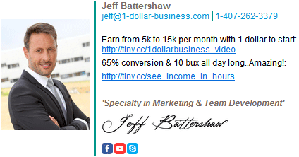Picture of internet marketer Jeff Battershaw with his urls and signature on the right