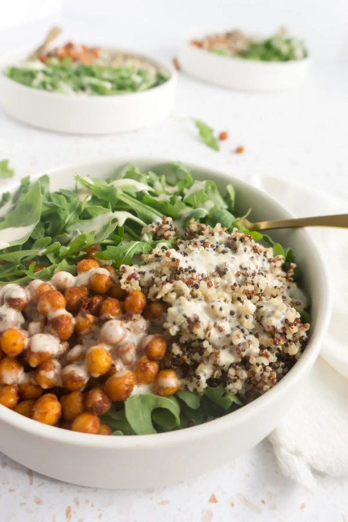 Chickpea bowl with fork close up
