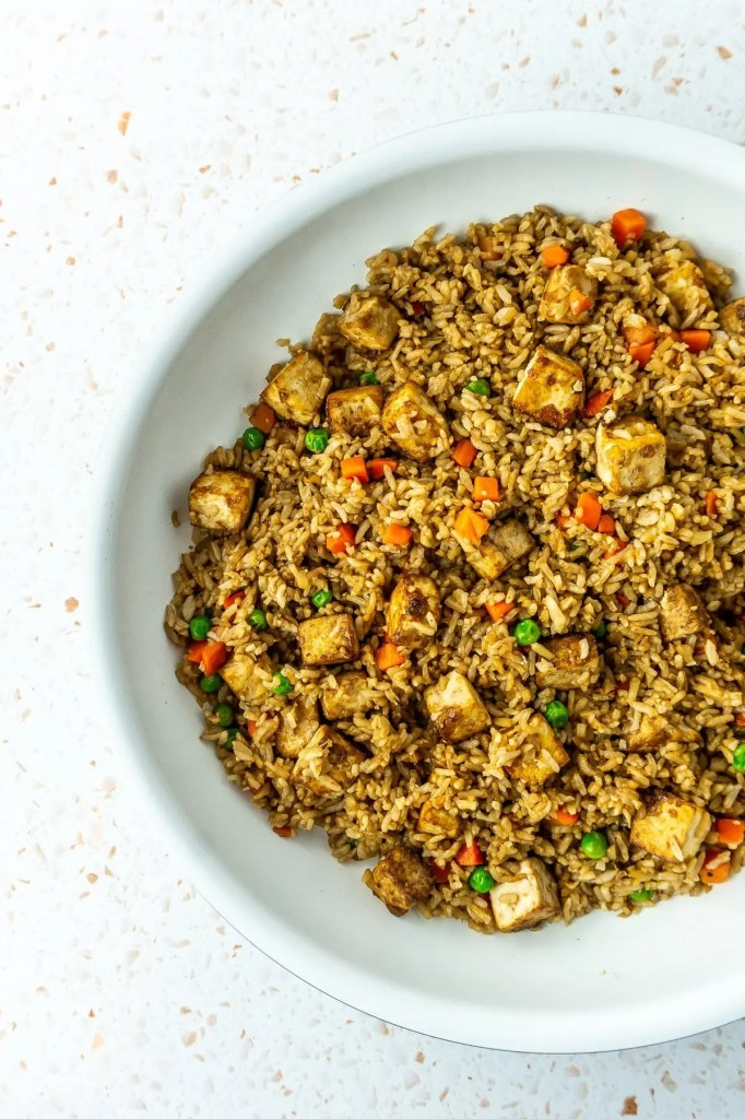 Completed fried rice in pan
