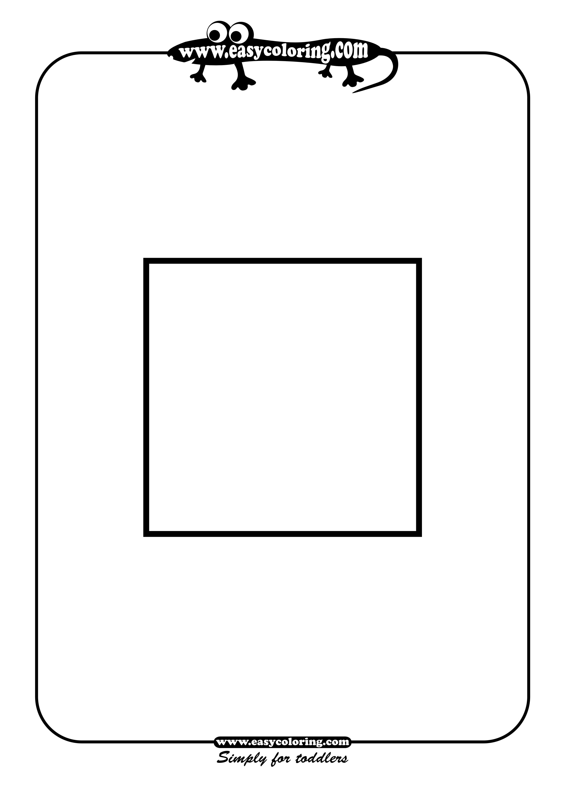 Square Simple Shapes Easy Coloring Pages For Toddlers
