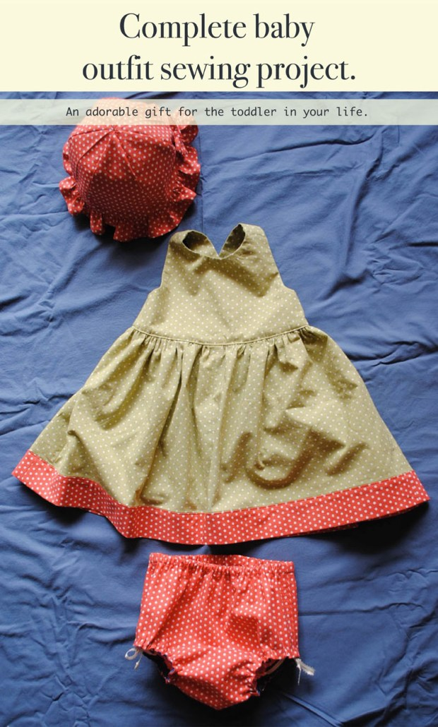 Complete baby outfit sewing project.
