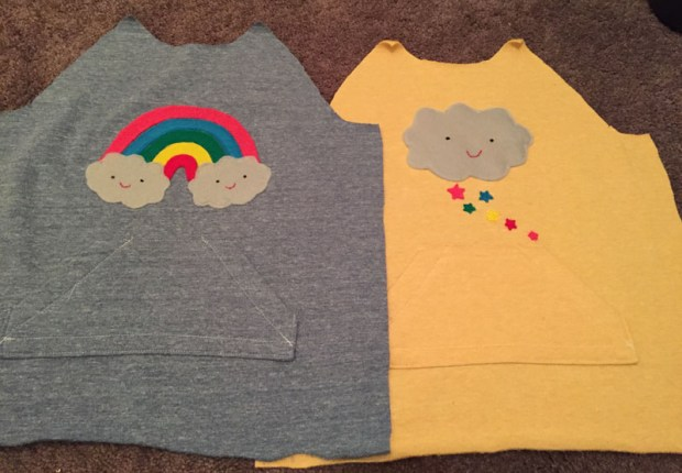 diy hooded sweatshirt and felt appliqué