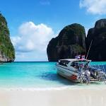 Maya Bay at Phi Phi Island in Krabi Province, Thailand.