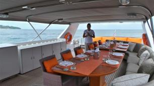 MY Victory Top Deck Dining - Luxury Yacht Charter Phuket