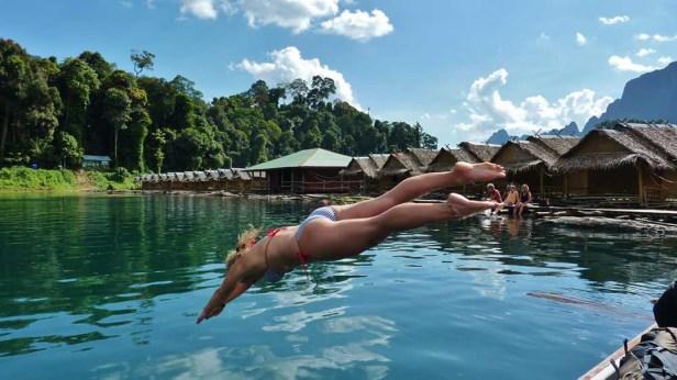 Jump into Kho Sok Cheow Lan Lake