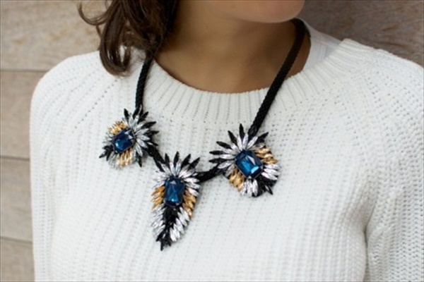 Homemade crystal flare necklace