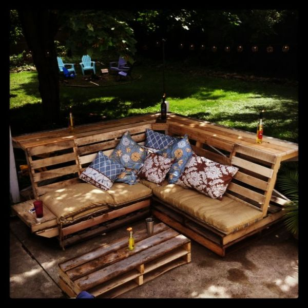 pallet wooden outdoor bench